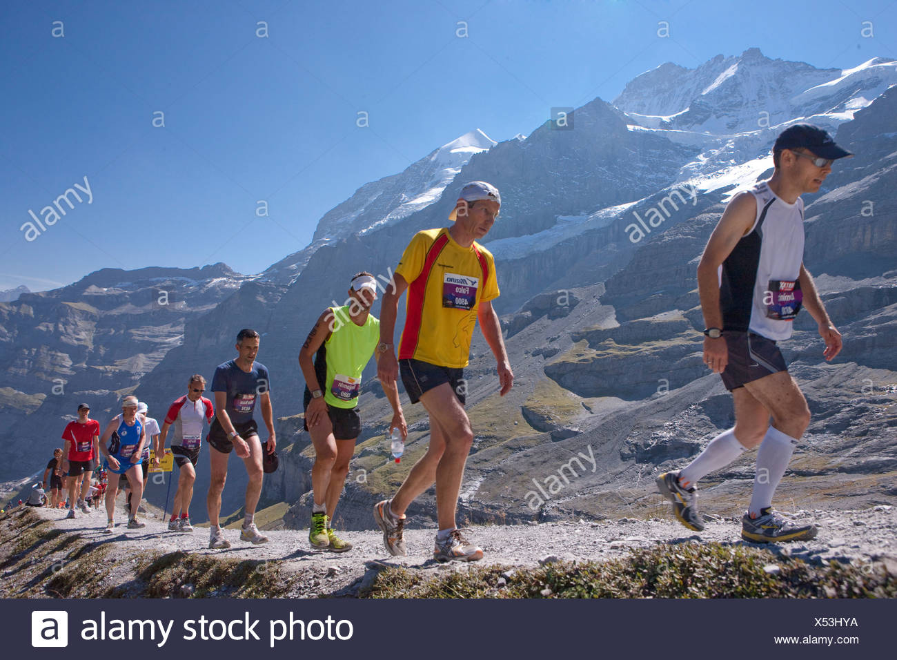 Jungfrau marathon, marathon, mountain run, run, sport, nicest mountain scenery, landscape, mountain, mountains, mountain road, s - Stock Image