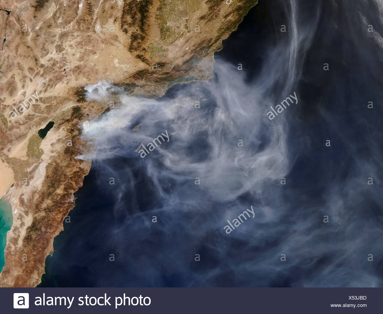 Smoke From Southern California Wildfires - Stock Image