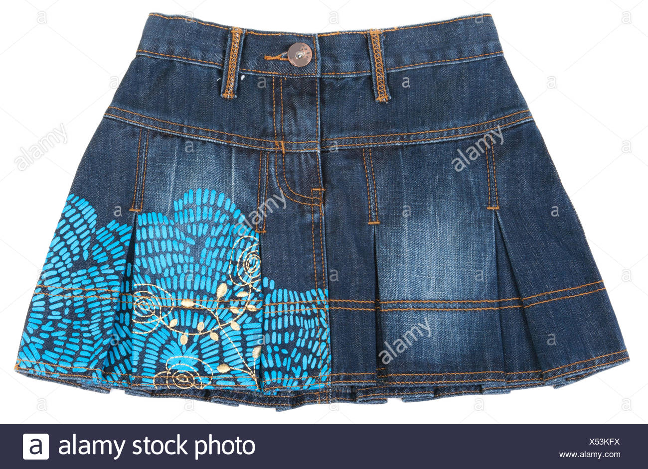 Jeans mini skirt insulated - Stock Image