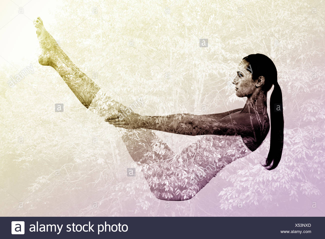 Composite image of toned woman doing the boat pose in fitness studio - Stock Image