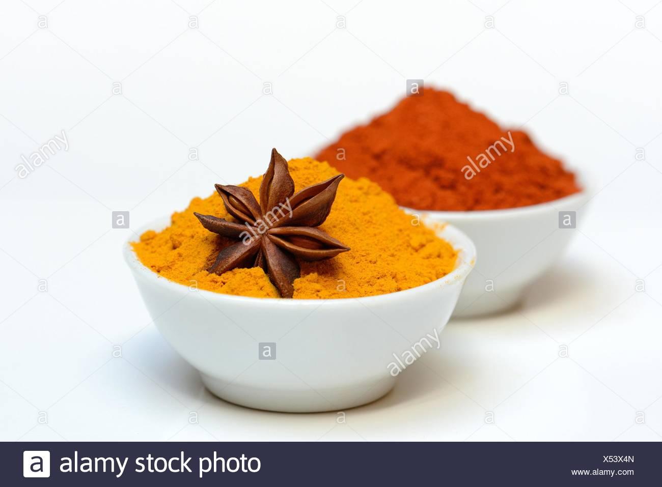Spices, Capsicum annuum, Illicium verum, Curcuma longa - Stock Image