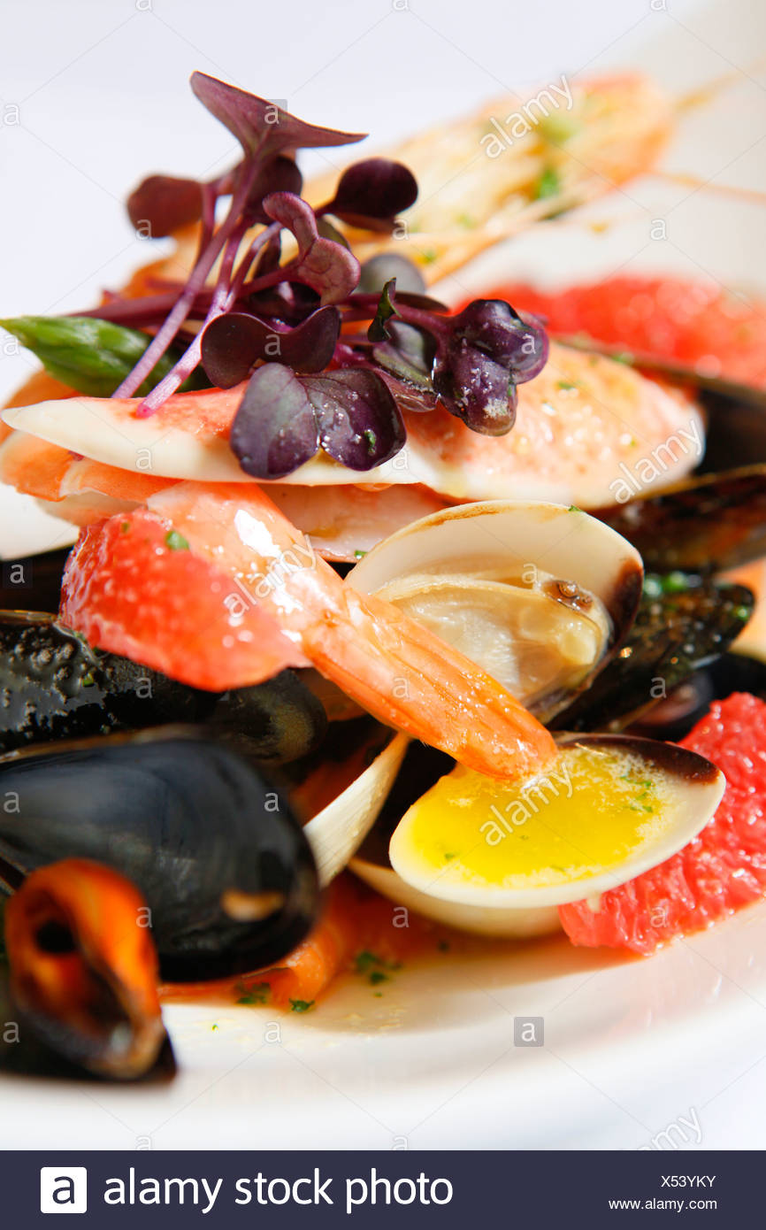 Seafood platter with lobster salmon and scallops melon - Stock Image