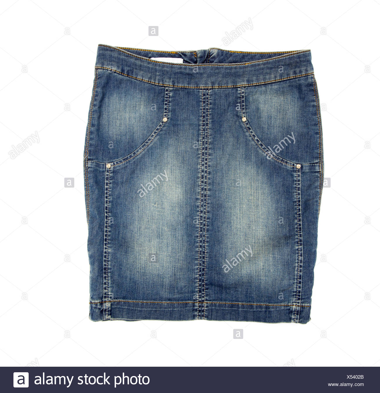 Jean skirt isolated on white background - Stock Image