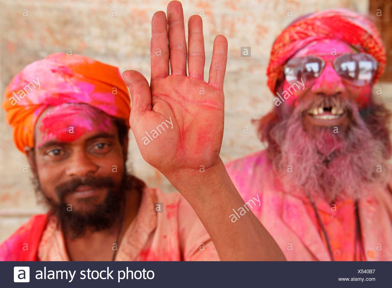 Sadhus celebrating Holi in Goverdan Goverdan. India. - Stock Image