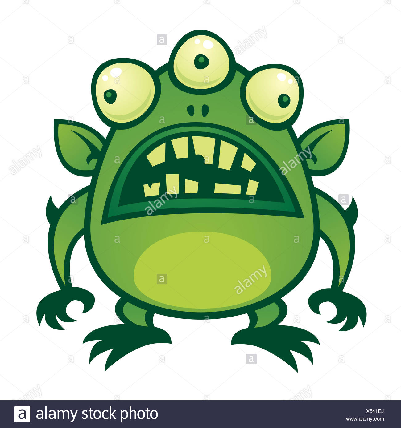 space illustration monster ugly cartoon martian alien green space illustration - Stock Image