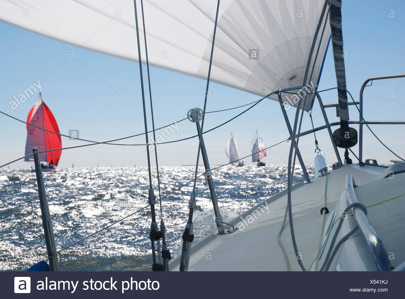 A spinnaker flying on a J/105 raceboat during a regatta in Annapolis. - Stock Image
