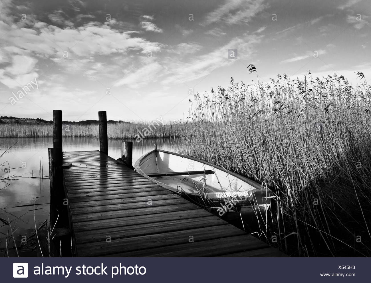 A boat on a little lake near Norre Nebel - Stock Image