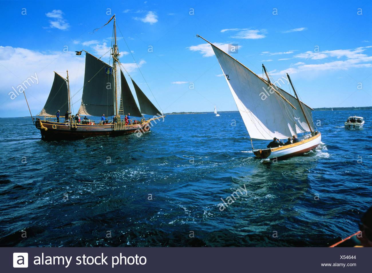 Two sailing vessels at sea Blekinge Sweden - Stock Image