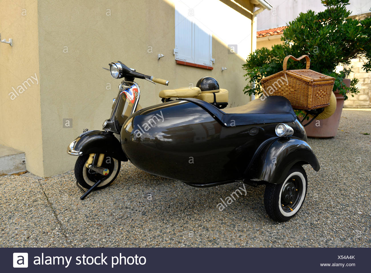 Europe, France, two-wheeled Vespa sidecar in the streets of Saint-Gilles-Croix-de-Vie - Stock Image