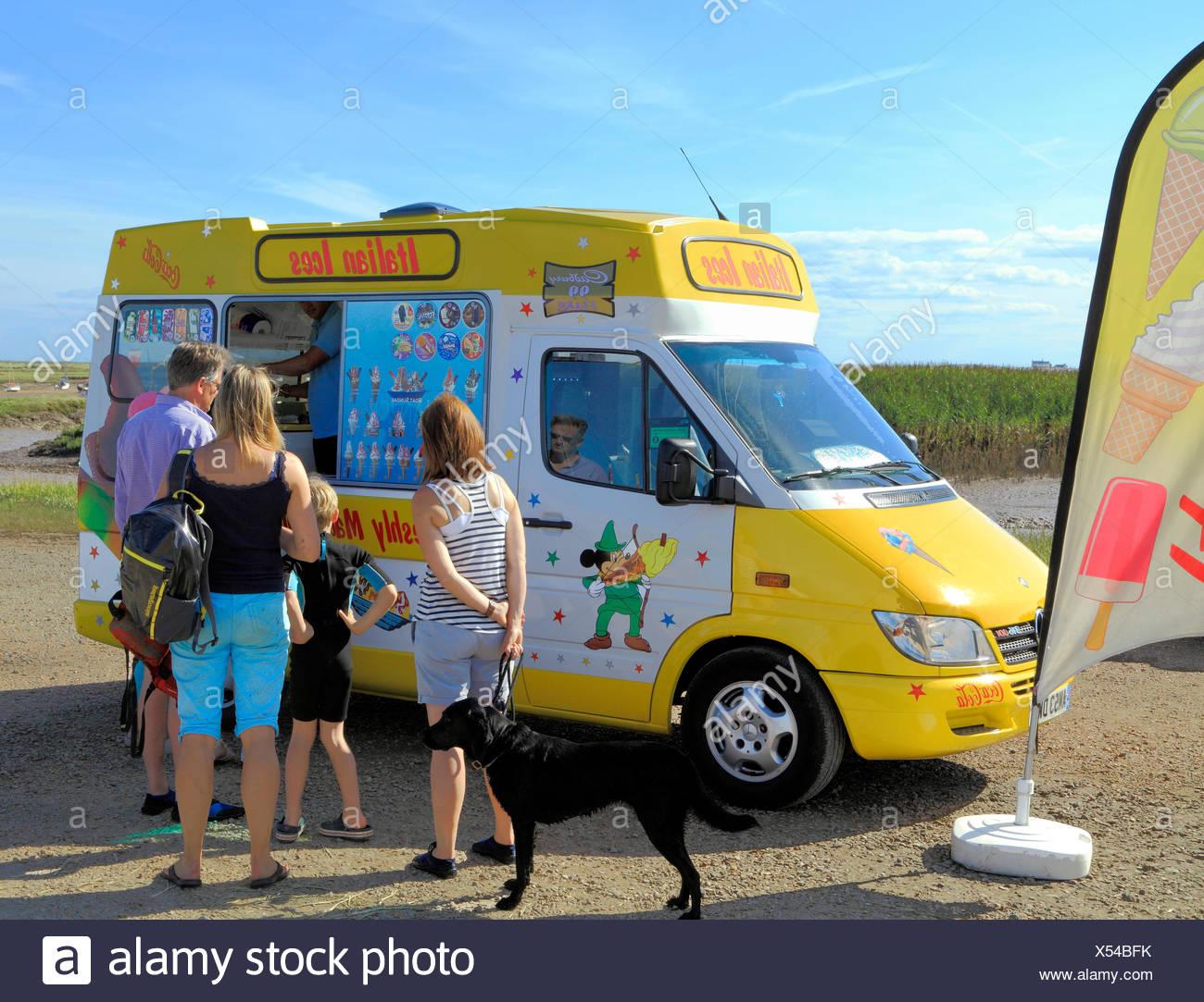 Italian Ice Cream Van, Ices, Brancaster Staithe, people, customers, Ice Creams, sales, Norfolk, England, UK - Stock Image
