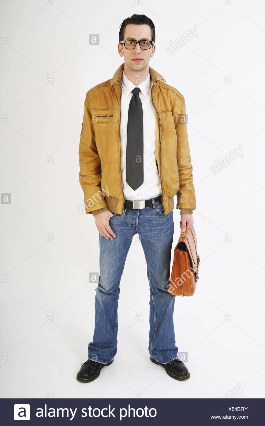 Young man with brown leather briefcase - Stock Image