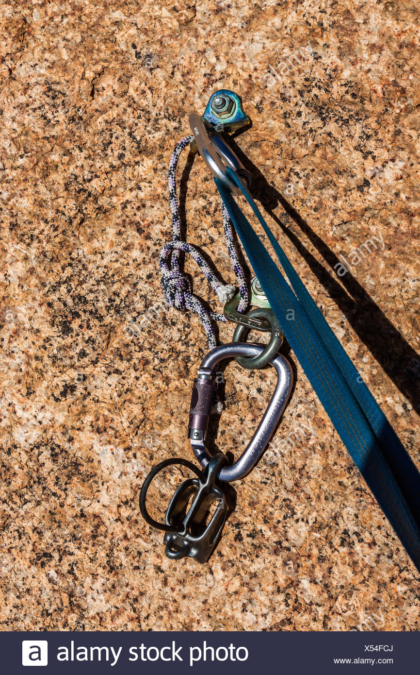 Belay safety point for climbing in granite Spitzkoppe area, Namibia, Africa - Stock Image