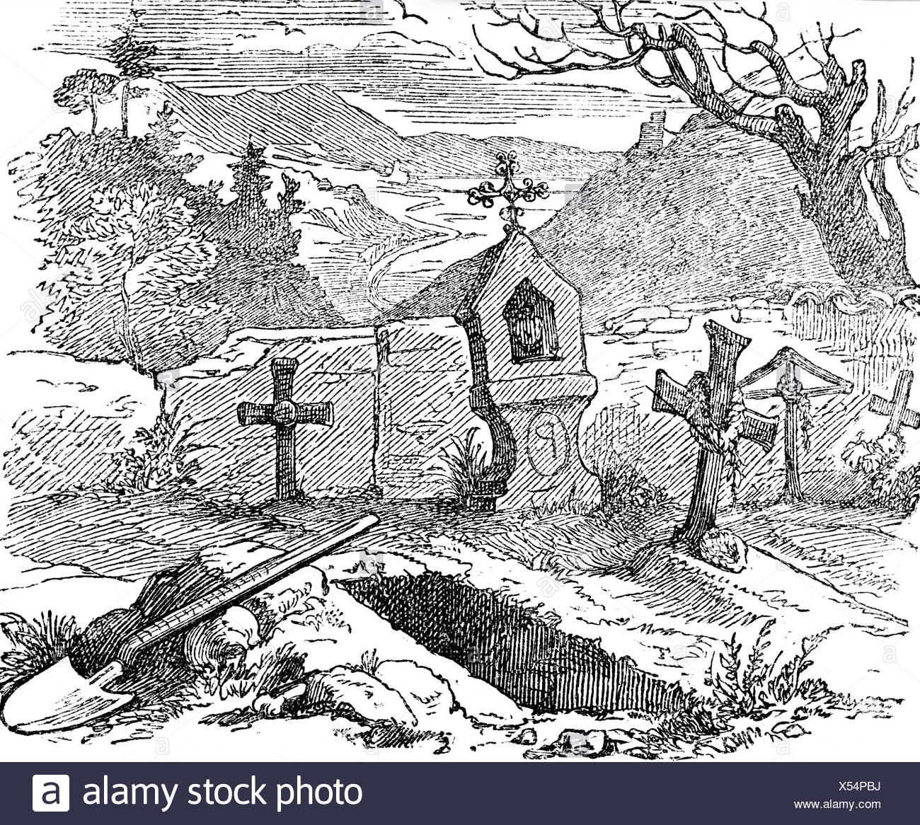 Cemetery with an open grave, engraving, 19th Century - Stock Image
