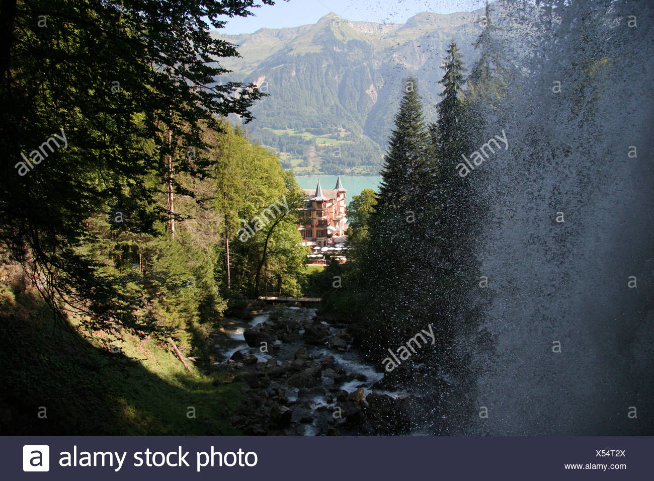 Switzerland Europe Brienz Giessbach falls Bernese Oberland Canton Berne Bern Giessbachfalle Waterfall landsca Stock Photo