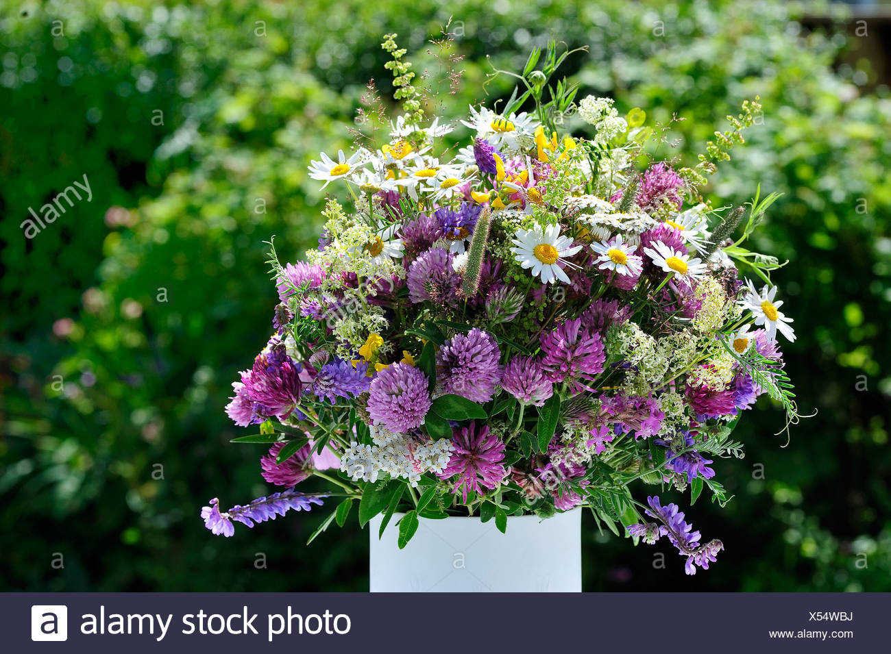 Close-up of flower bouquet against trees - Stock Image