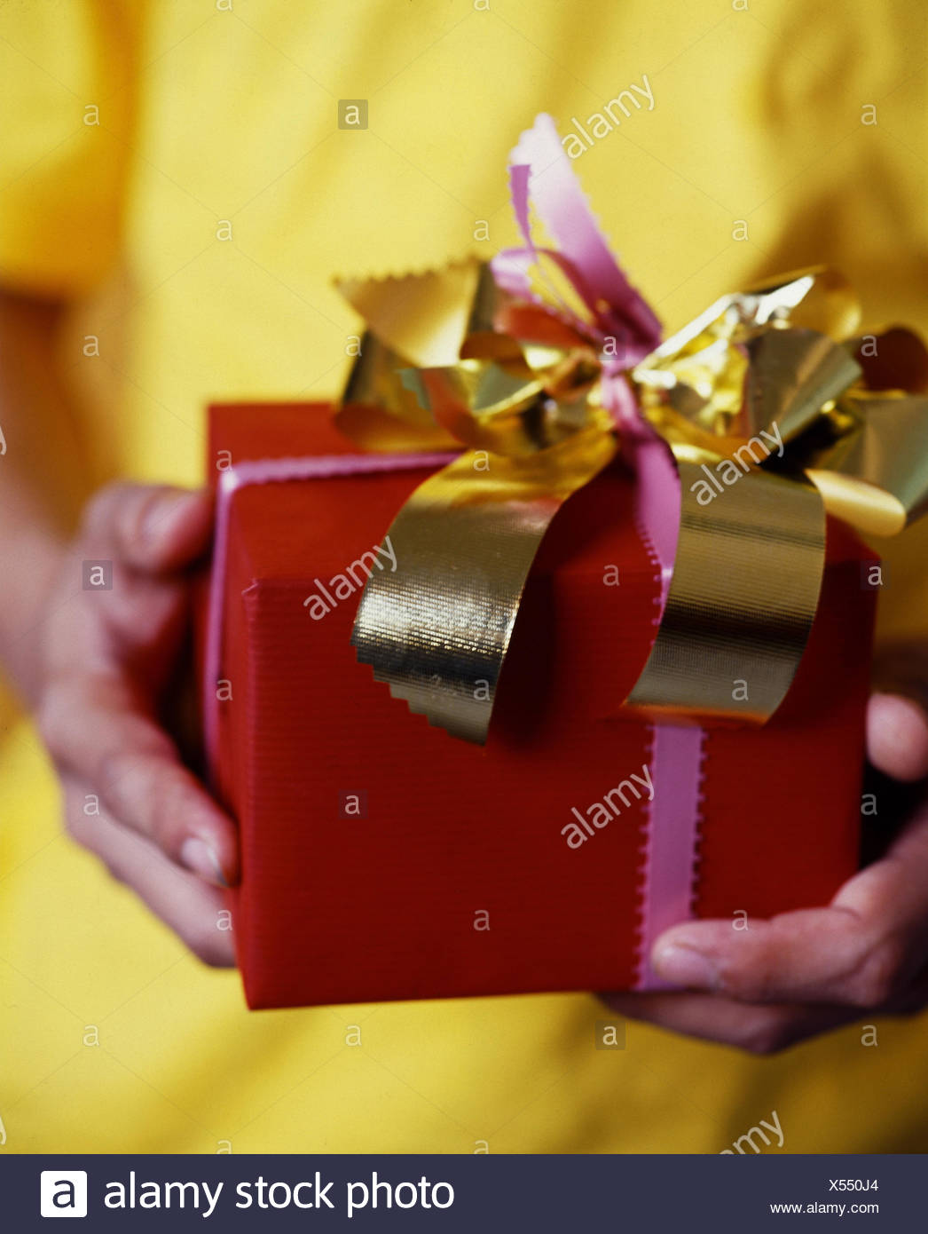 Man Young Detail Hands Present Hold Birthday Christmas Surprise Give Hand Accept Receive Gift Cardboard