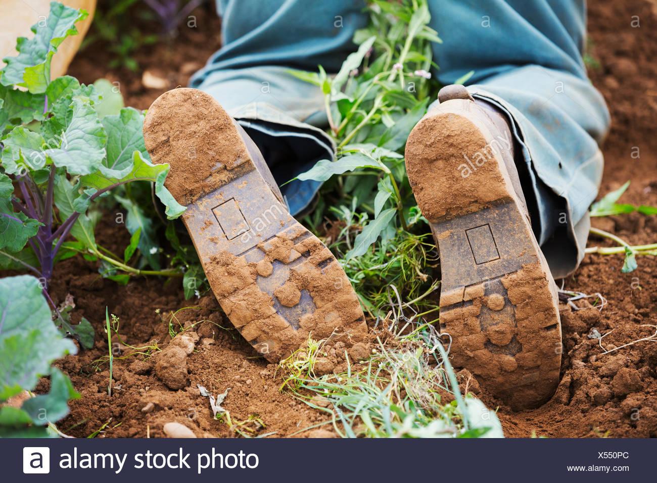 Man in boots kneeling in soil. - Stock Image