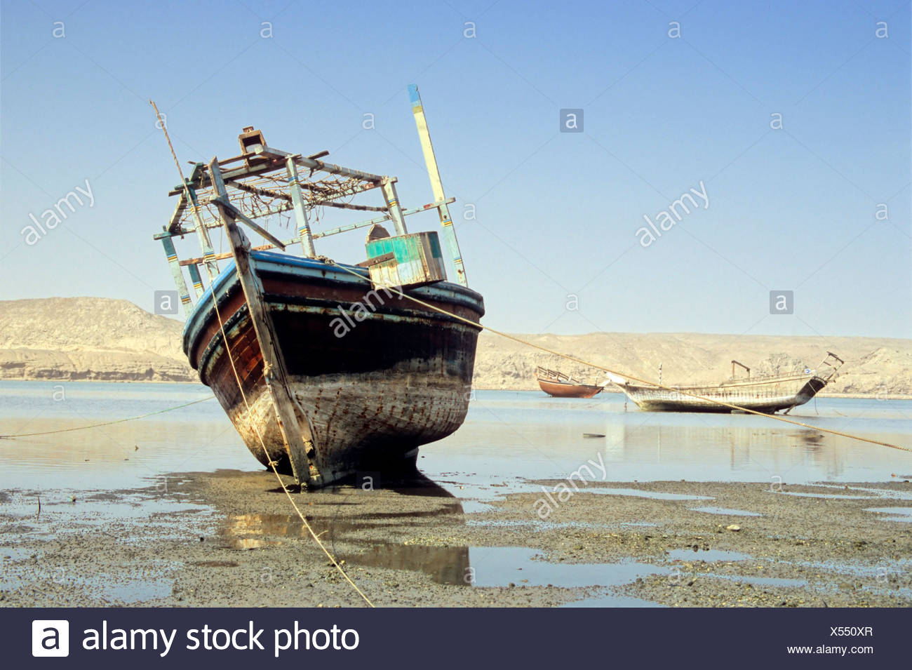 Ship cemetery at Sur, Oman, Arabian Peninsula, Middle East Stock Photo
