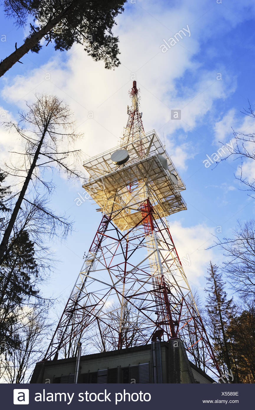 Transmission Tower in red white red Stock Photo