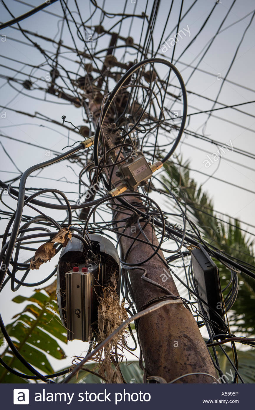 Incredible Electrical Cables Tangled Wires On A Pylon Kochi Cochin Kerala Wiring 101 Tzicihahutechinfo