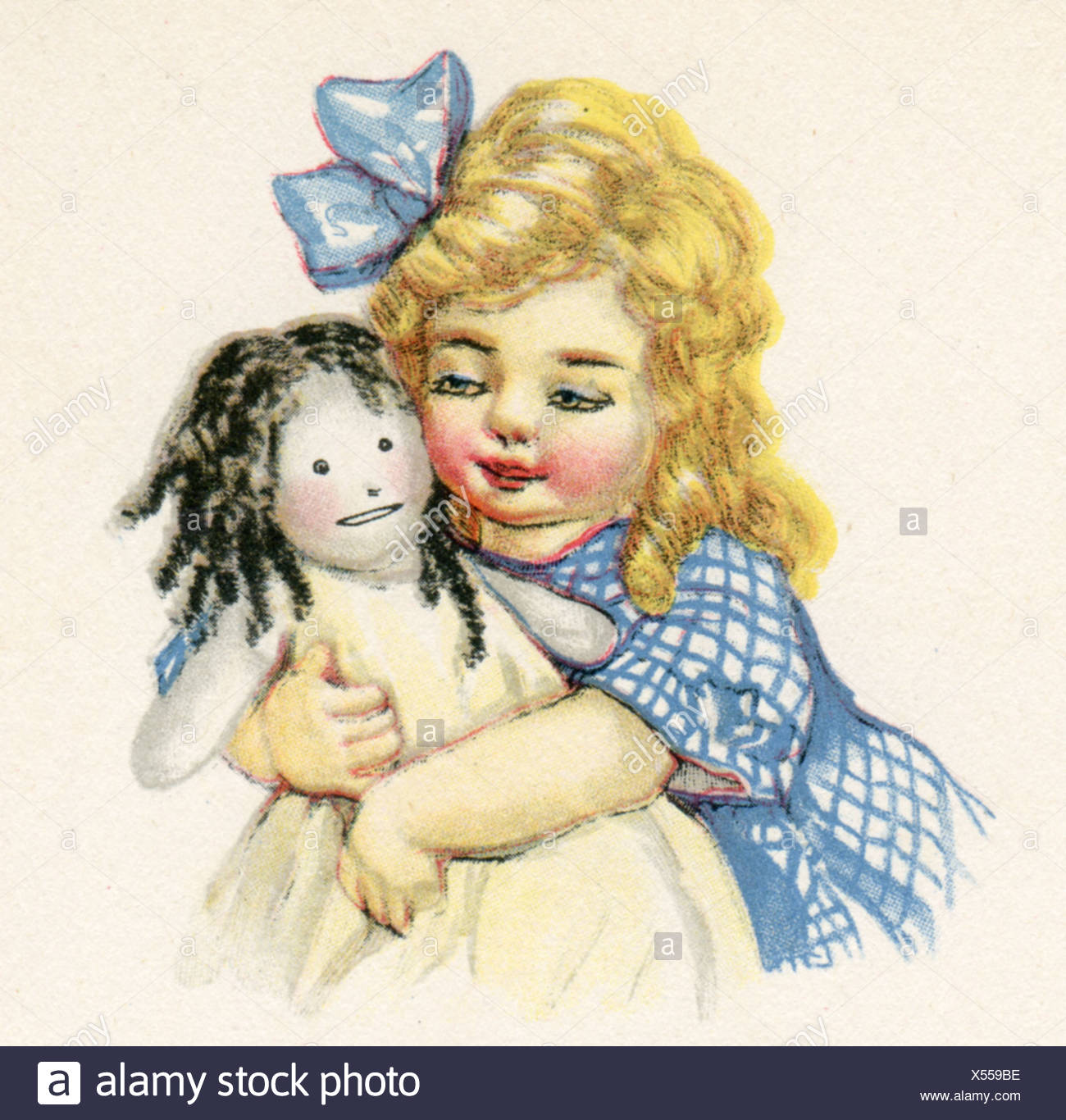happy dollies little blonde haired girl with her favourite doll