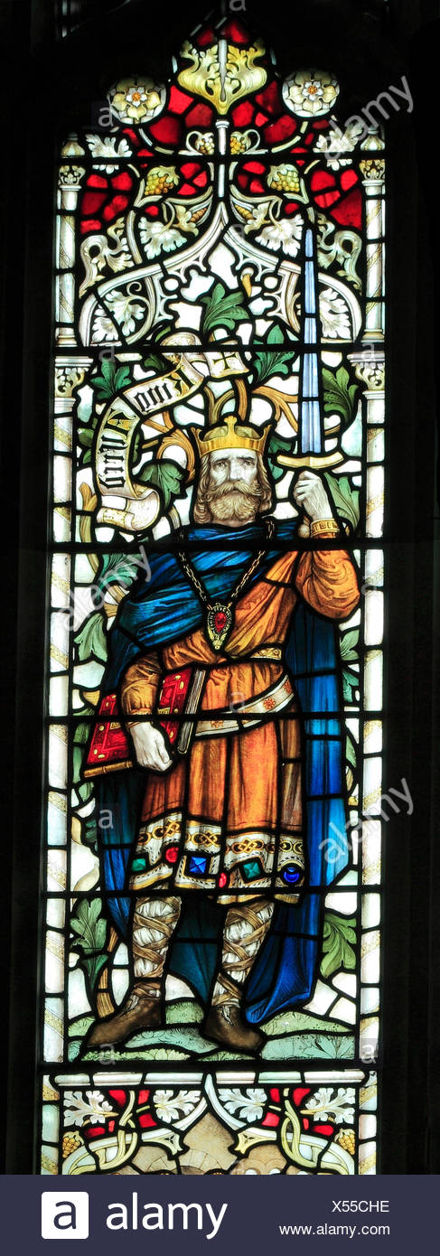 King Alfred the Great of Wessex, Saxon king kings, stained glass window by J. Powell & Son, 1900,  Blakeney, Norfolk England UK - Stock Image