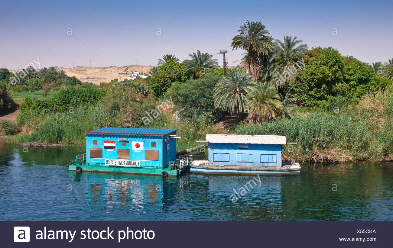 Water pumping station swimming on the Nile at Aswan, Egypt, Africa Stock Photo