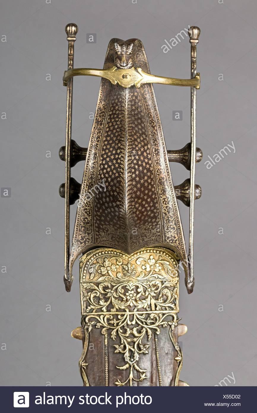 Dagger (Katar) with Sheath. Date: second half 16th century; Culture: Indian, Vijayanagara; Medium: Steel, silver, gold, leather, shark's teeth; - Stock Image