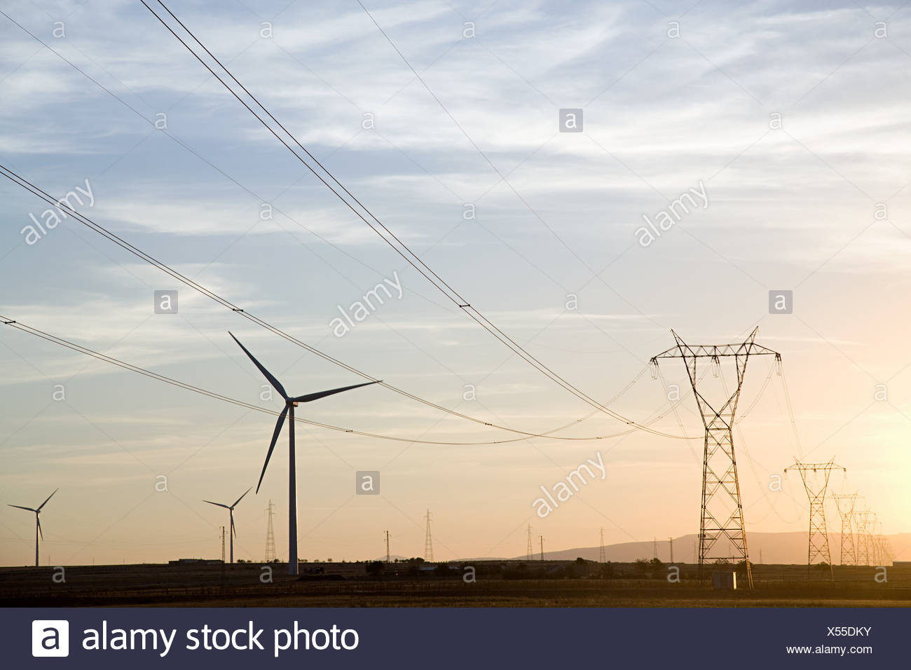Wind turbines and pylons - Stock Image