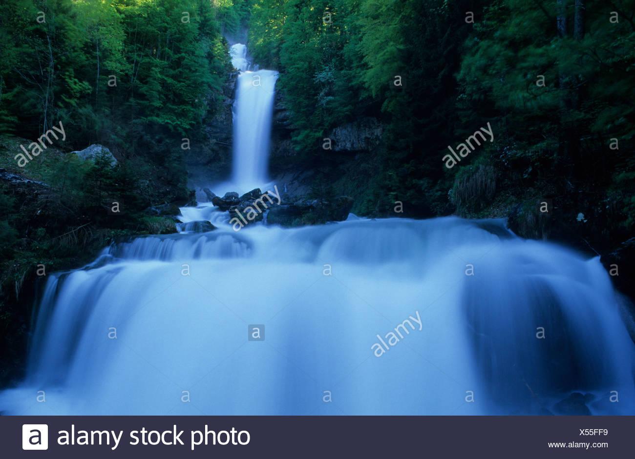 Europe Switzerland Canton of Bern Bernese Oberland Giessbachfälle Giessbach falls waterfall water nature scenery creek stream Stock Photo