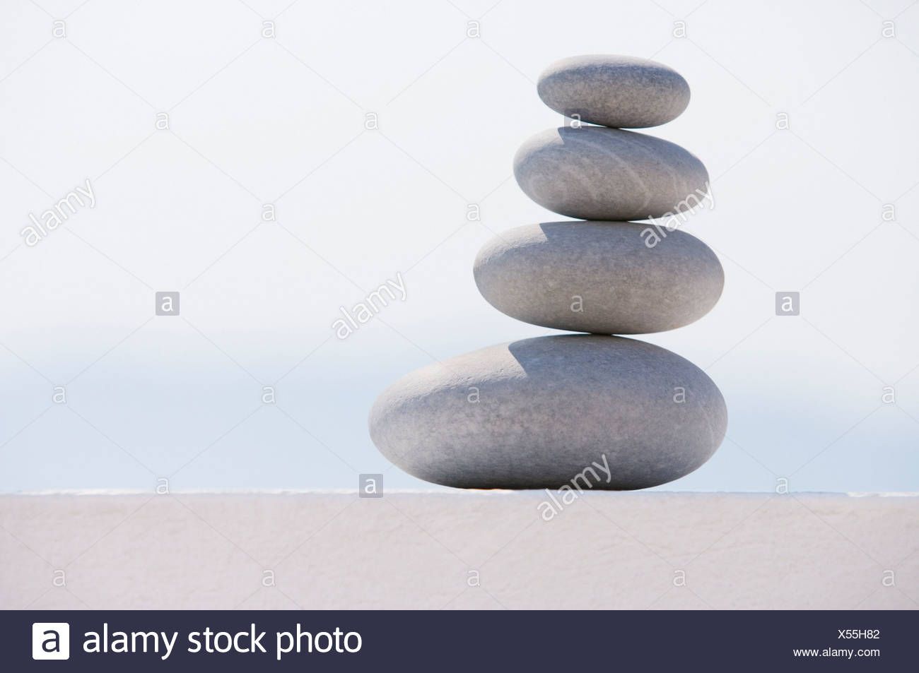 Stack of graduated stones - Stock Image