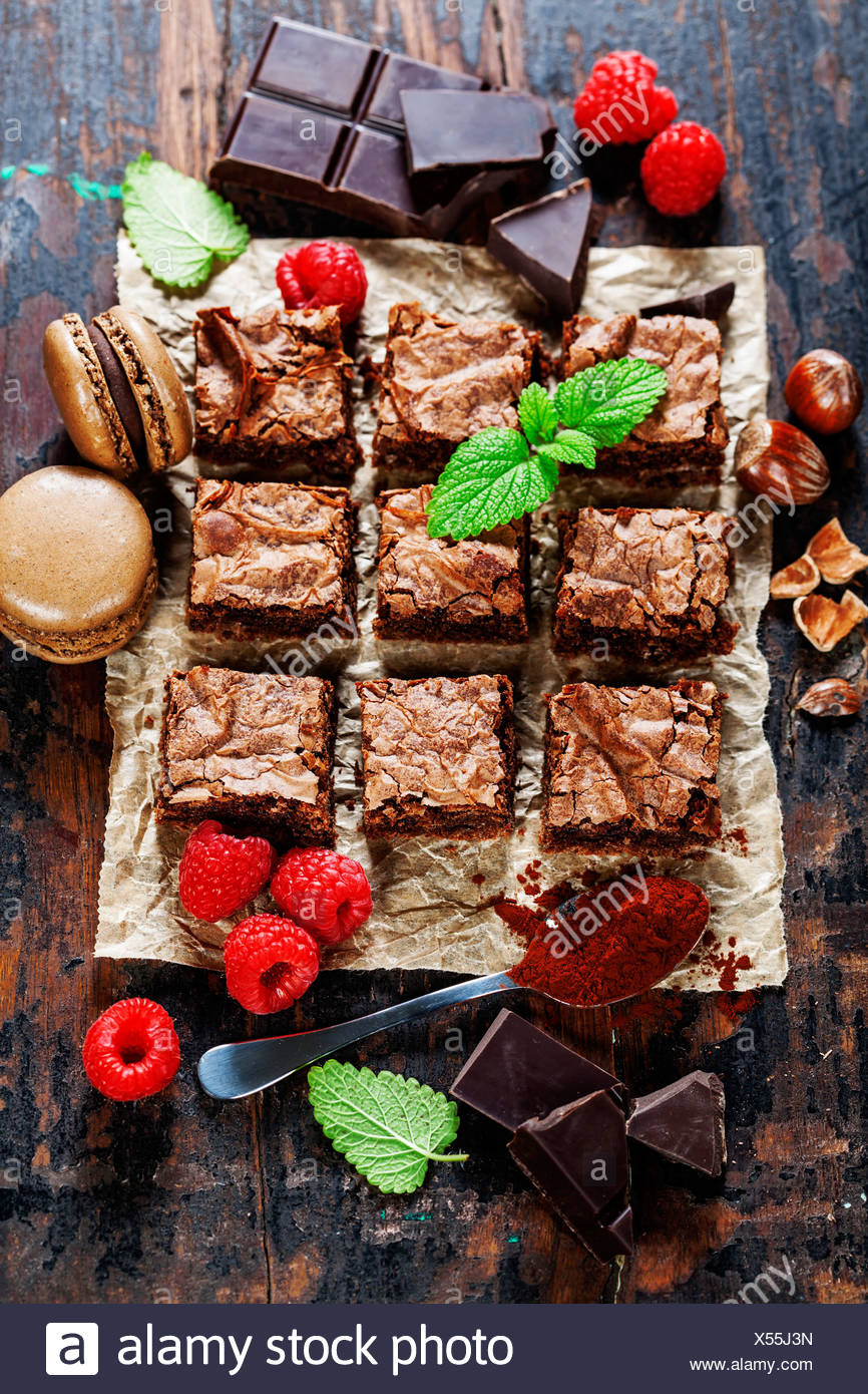 homemade brownie pieces on the board, food closeup Stock Photo