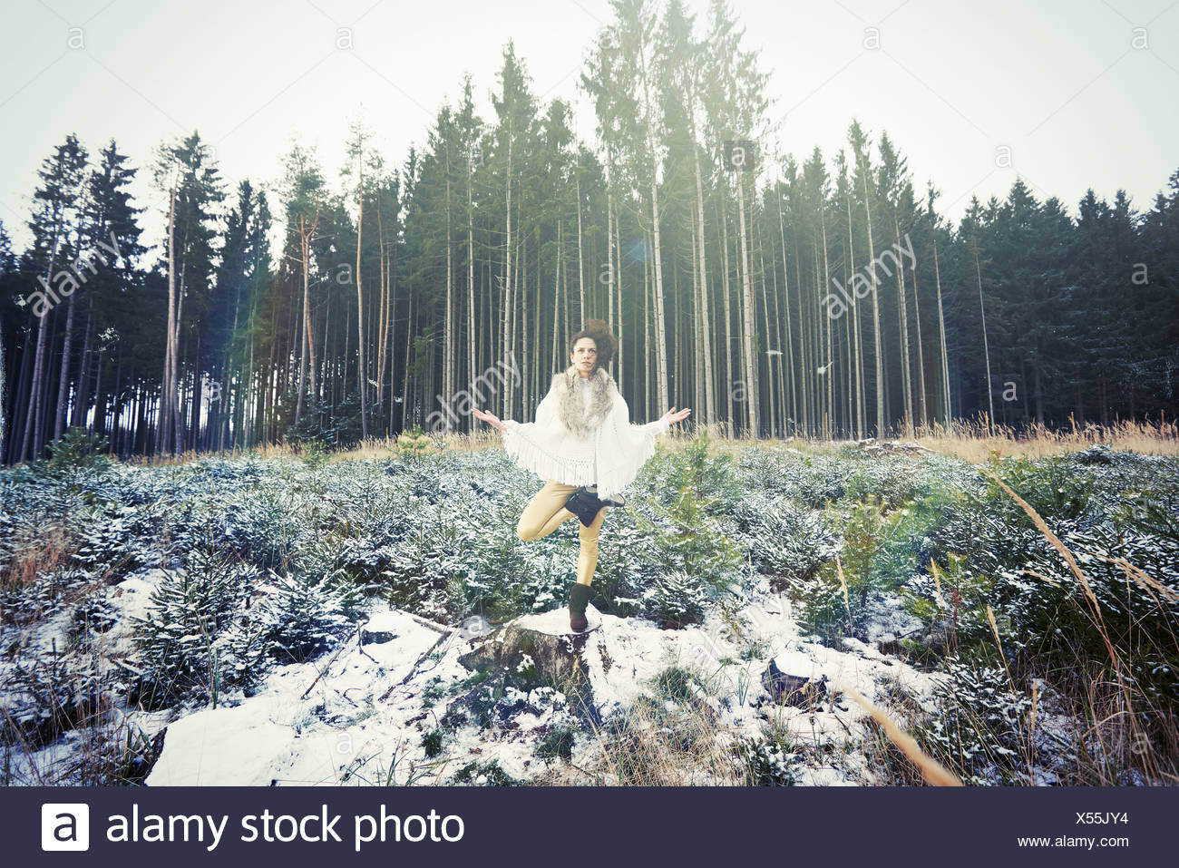 Mid adult woman practicing standing tree yoga pose in forest Stock Photo