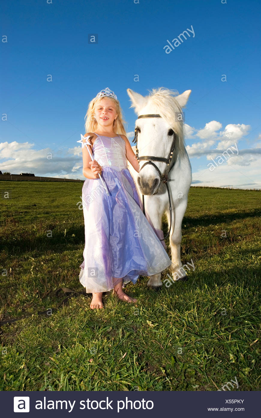 Girl (7-9) dressed as fairy by pony - Stock Image