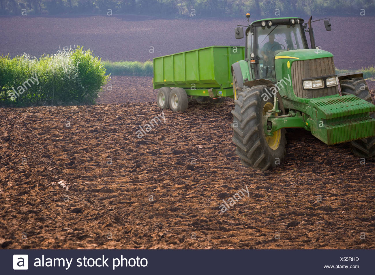 Tractor and trailer in ploughed field - Stock Image