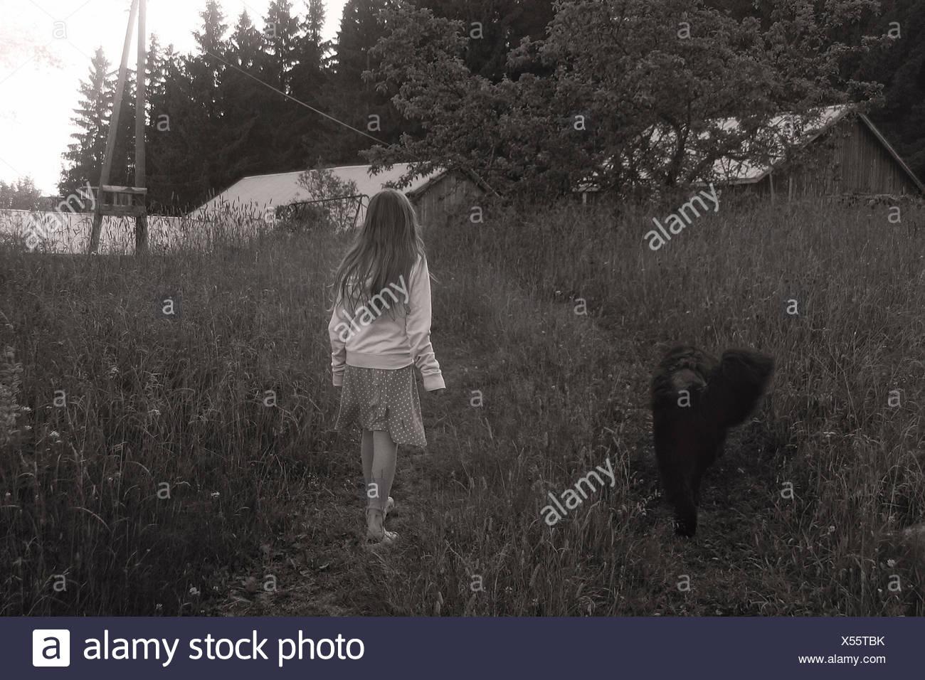 Girl and dog - Stock Image