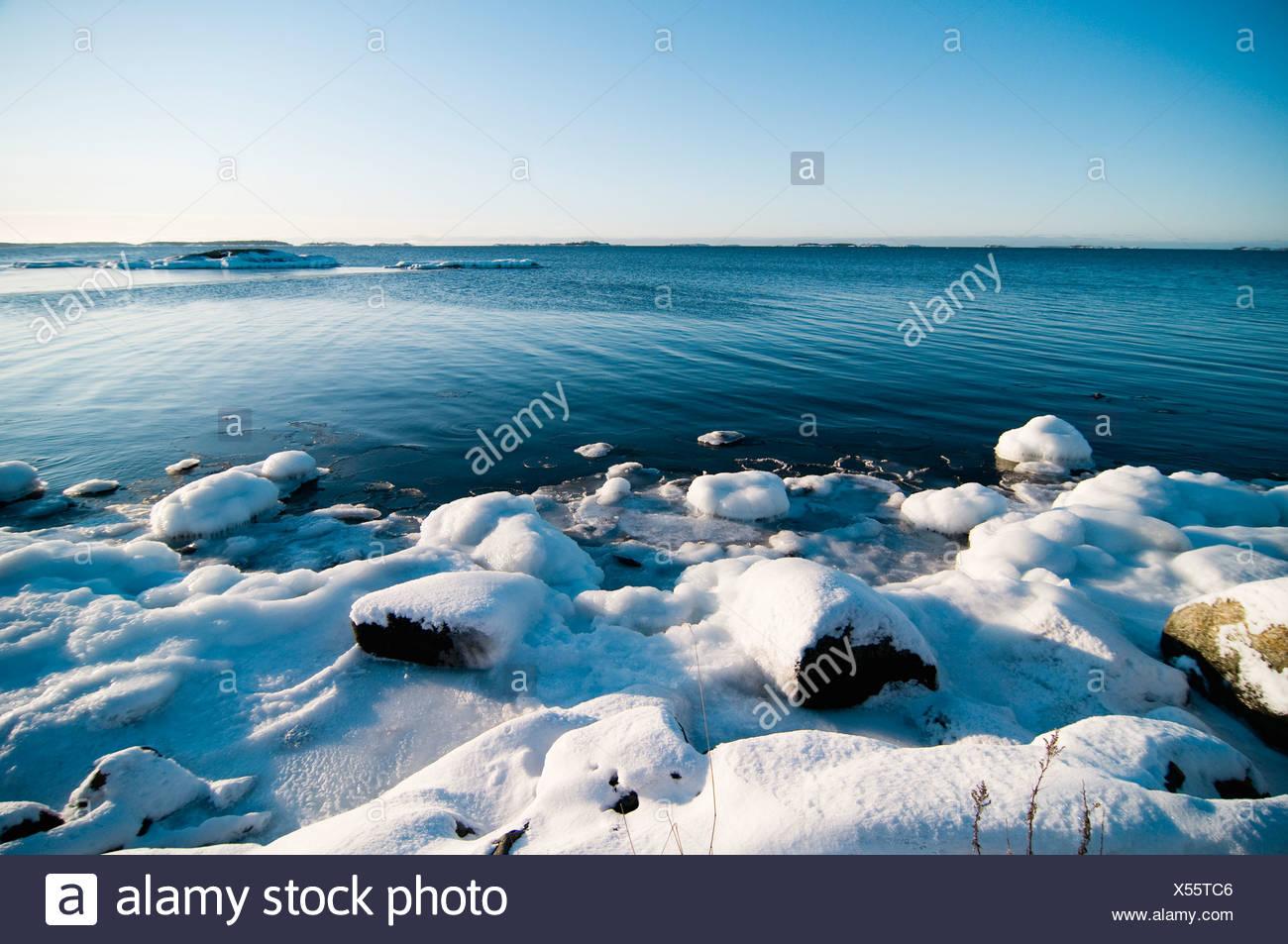 Beautiful view of winter beach - Stock Image