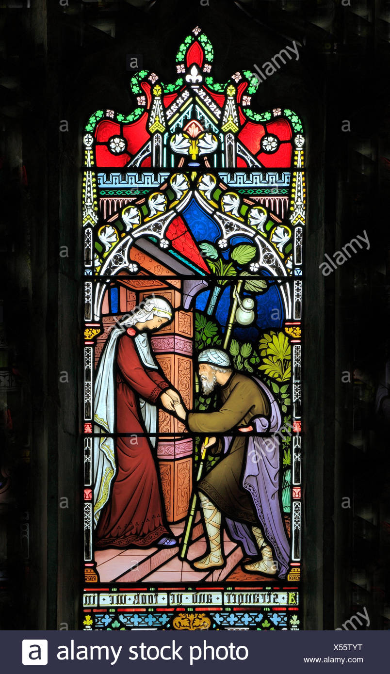 Corporal Acts of Mercy window, stained glass by Frederick Preedy, 1868,  sheltering the homeless, Gunthorpe, Norfolk, England, UK - Stock Image