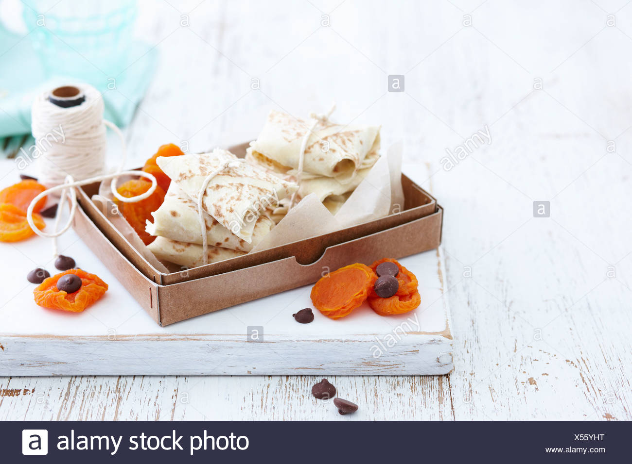Tortillas with chocolate and apricots - Stock Image