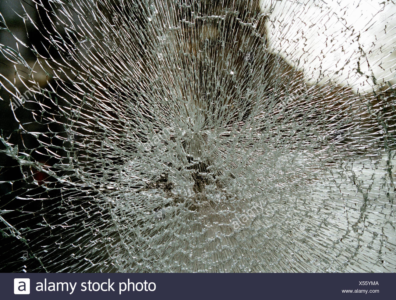 Pattern in shattered glass - Stock Image