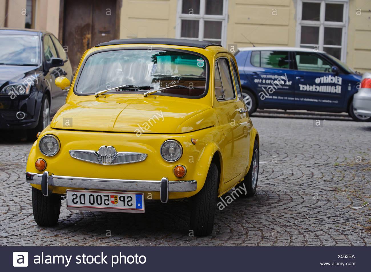 Fiat 500, classic car, Krems, Wachau valley, Lower Austria, Austria, Europe - Stock Image