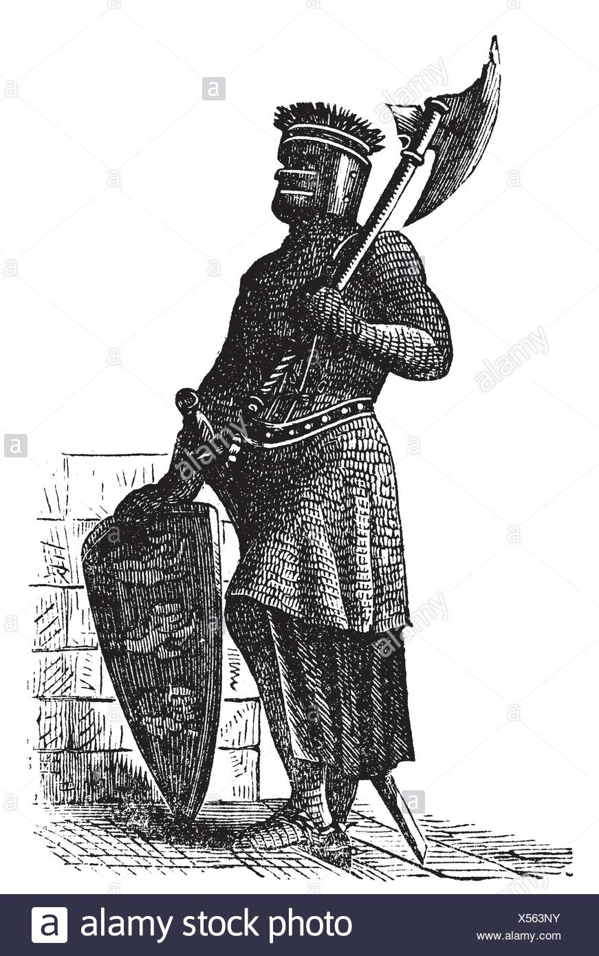 Armor and weapons during the first Crusades era, old engraving  Vector, engraved illustration of Crusade knight, in mail armor, with hauberk, shield - Stock Image