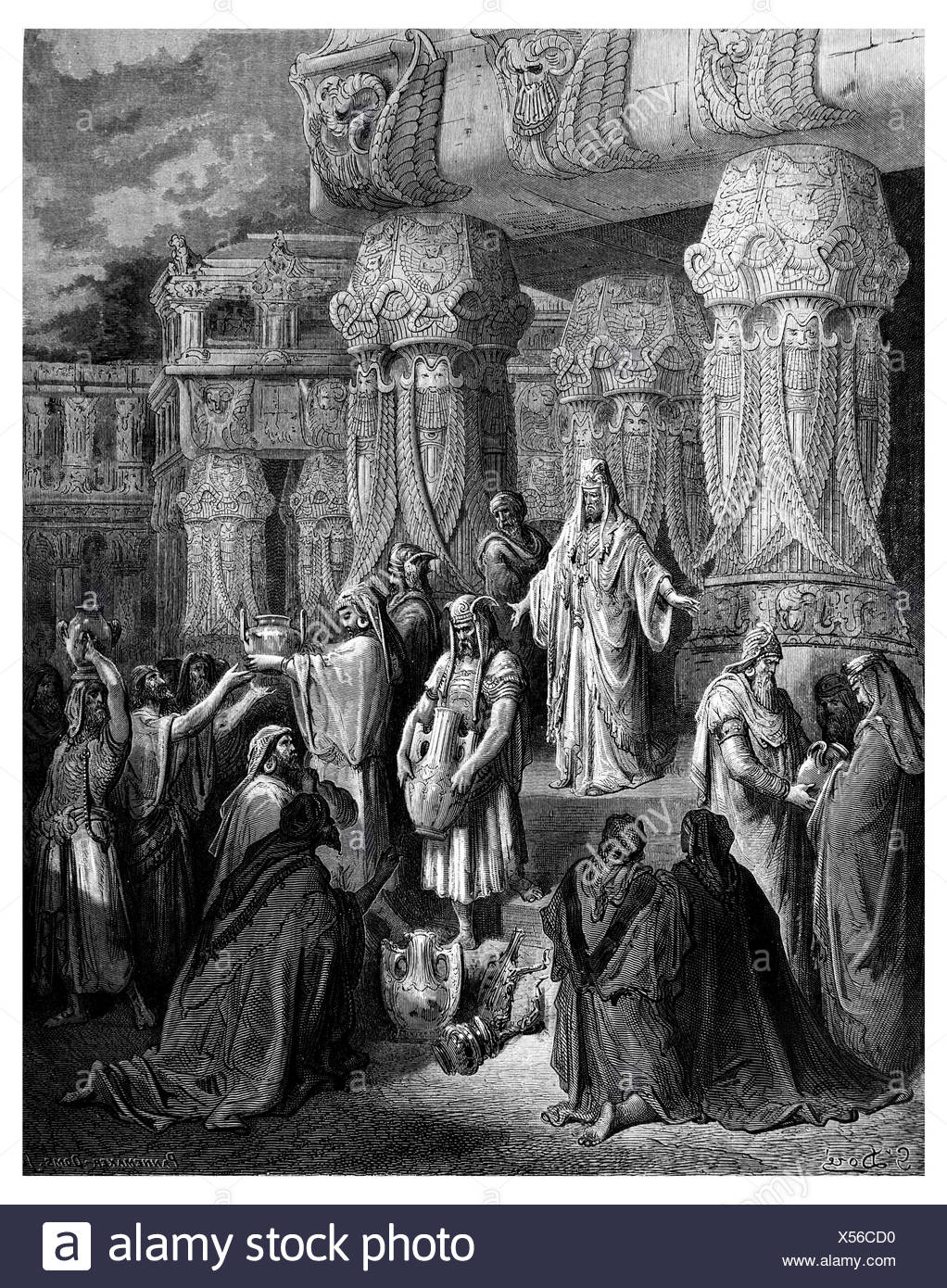 King Cyrus is out the vessels of the temple - Stock Image