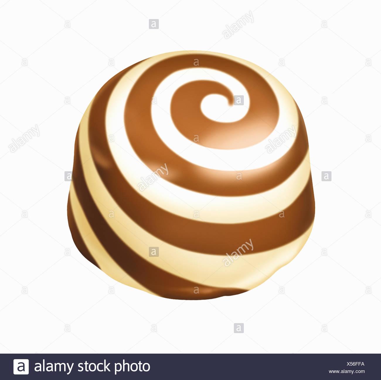 Chocolate truffle with white chocolate swirl - Stock Image