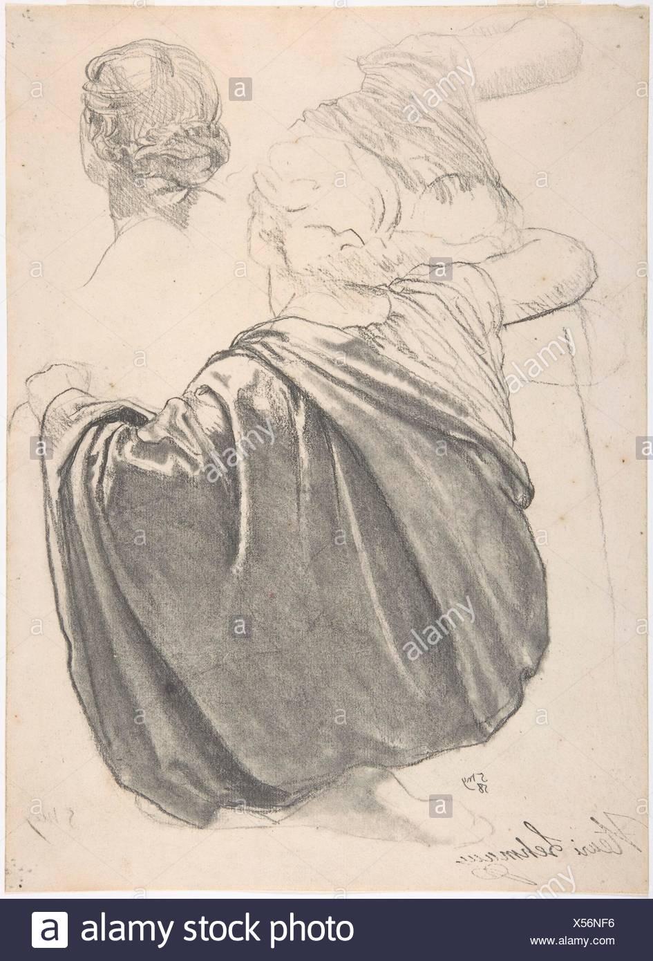 Studies of a Draped Female Figure, Kneeling, Seen from the Back, for the East Transept of the Chruch of Sainte-Clothilde, Paris. Artist: Henri - Stock Image