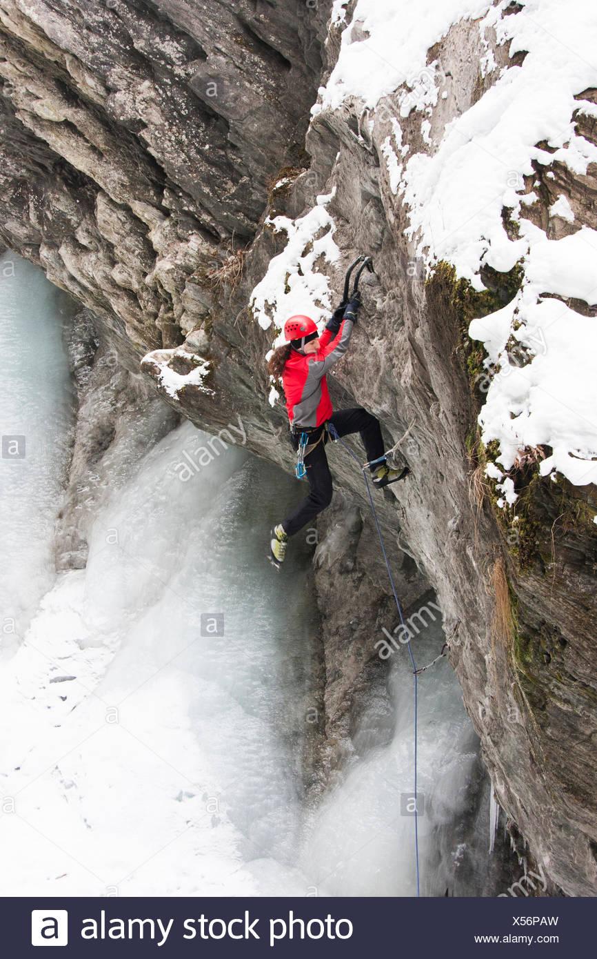 An Ice Climber In Kaprun, Austria Stock Photo