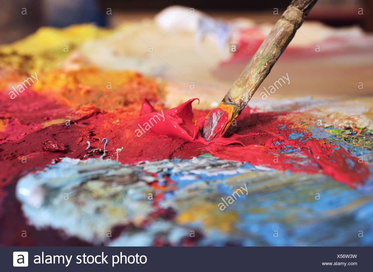 mixing colours - Stock Image