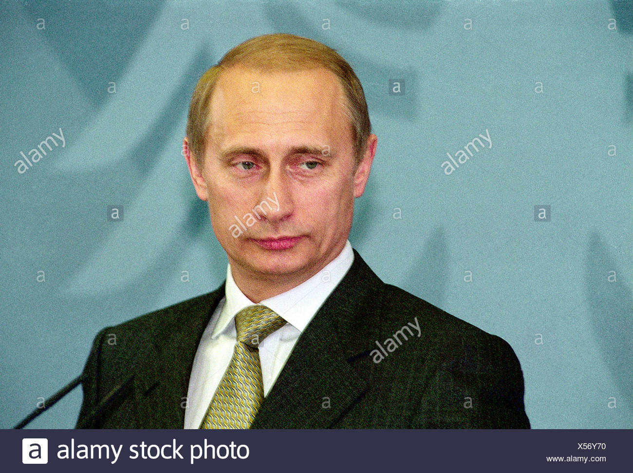 Putin, Vladimir, * 7.10.1952, Russian politician, president of Russia since 2000, portrait, visiting Berlin, 15.6.2000, Additional-Rights-Clearances-NA - Stock Image