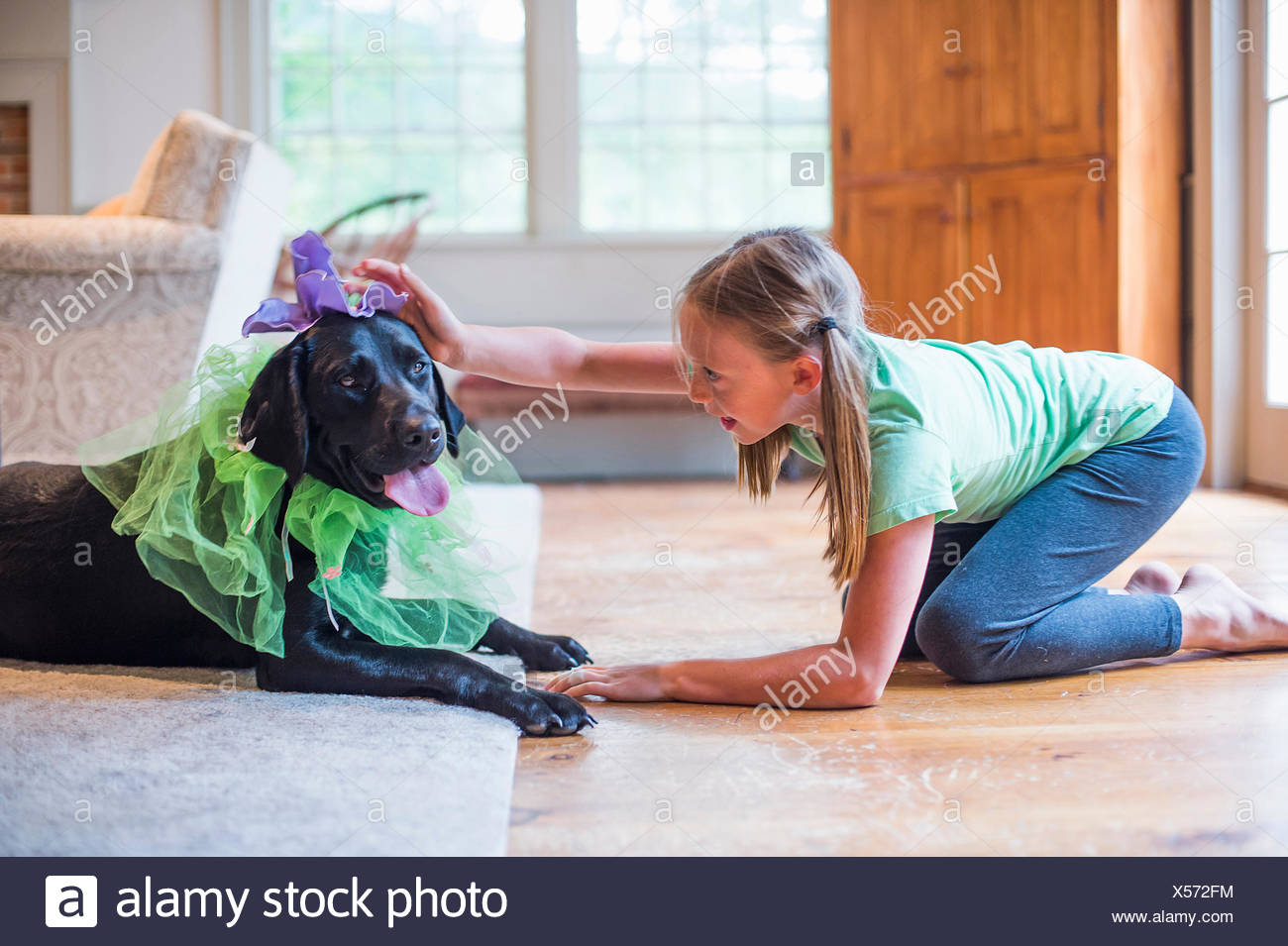 Young girl playing dress up with pet dog Stock Photo