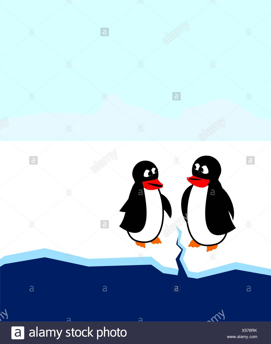 Penguins Discover Global Warming - Stock Image